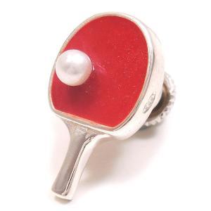 ピンブローチ ラペルピン 卓球 ラケット レッド エナメル彩色 シルバー925 サツルノ|entiere