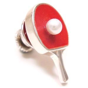 ピンブローチ ラペルピン 卓球 ラケット レッド エナメル彩色 シルバー925 サツルノ|entiere|02