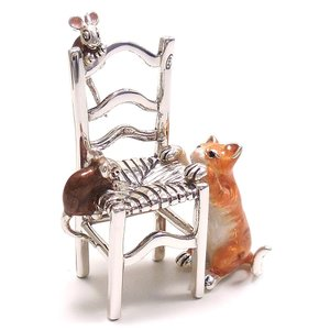置き物 オブジェ 猫とねずみ イス シルバー925 エナメル彩色 サツルノ|entiere