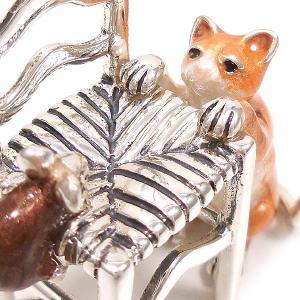 置き物 オブジェ 猫とねずみ イス シルバー925 エナメル彩色 サツルノ|entiere|02