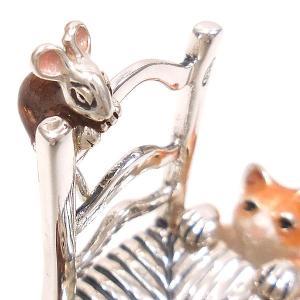 置き物 オブジェ 猫とねずみ イス シルバー925 エナメル彩色 サツルノ|entiere|04