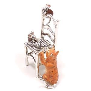 置き物 オブジェ 猫とねずみ イス シルバー925 エナメル彩色 サツルノ|entiere|05