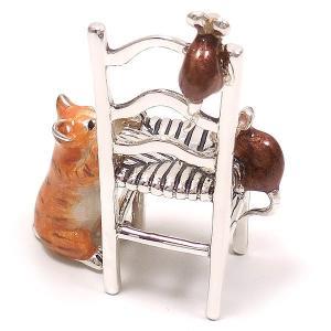 置き物 オブジェ 猫とねずみ イス シルバー925 エナメル彩色 サツルノ|entiere|06