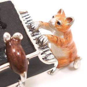 置き物 オブジェ 猫とねずみ ピアノ シルバー925 エナメル彩色 サツルノ|entiere|02