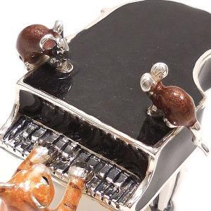 置き物 オブジェ 猫とねずみ ピアノ シルバー925 エナメル彩色 サツルノ|entiere|03