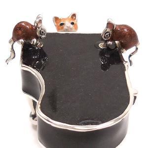 置き物 オブジェ 猫とねずみ ピアノ シルバー925 エナメル彩色 サツルノ|entiere|04