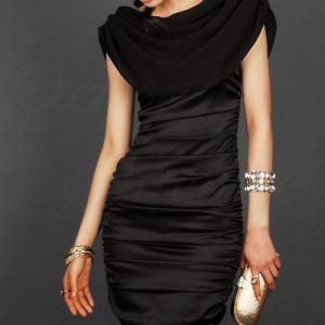 ブラックドレス パーティー ドレス ショート ドレス ワンピース フォーマル 結婚式 2次会|envylook