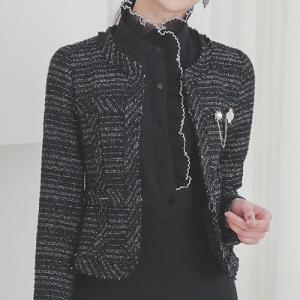 ジャケット ハーフ丈 きれいめ 上品 入学式 卒業式  カラー:Ivory Black 素材 : ポ...