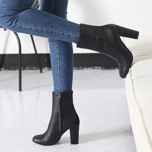 ミドルブーツ チャンキーヒール サイドジップ ブーツ レディース 秋 ファッション レディース 靴 婦人靴 30代 40代