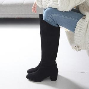 ロングブーツ スエード調 チャンキーヒール 太ヒール シンプル ブーツ レディース ファッション レディース 靴 婦人靴 30代 40代|envylook