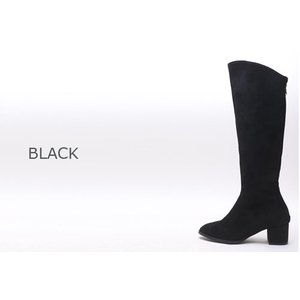ロングブーツ スエード調 チャンキーヒール 太ヒール シンプル ブーツ レディース ファッション レディース 靴 婦人靴 30代 40代|envylook|02