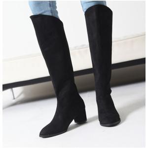 ロングブーツ スエード調 チャンキーヒール 太ヒール シンプル ブーツ レディース ファッション レディース 靴 婦人靴 30代 40代|envylook|04