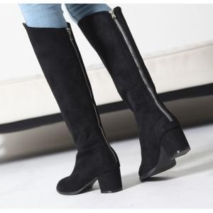 ロングブーツ スエード調 チャンキーヒール 太ヒール シンプル ブーツ レディース ファッション レディース 靴 婦人靴 30代 40代|envylook|05