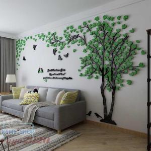 3D 木 木の葉 ウォールステッカー diy アクリル壁紙 飾り はがせる 装飾 シール 壁 ホーム...