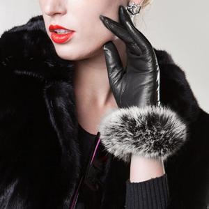 手袋 グローブ レディース 高級 ラムスキン 本革 ラビットファー レッキスファー ブラック Black|eooplushop