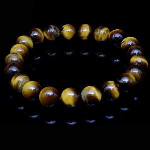 タイガーアイ 虎目石 天然 ブレスレット 10mm珠 天然石 パワーストーン 父の日 誕生日 メンズ レディース|eooplushop