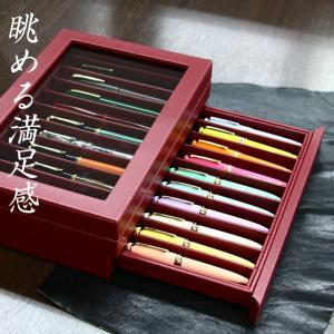【入荷数限り】レザー調コレクションケース 2段式 ペン20本用 ボルドー (万年筆ケース/収納ボックス/万年筆箱)|erfolg