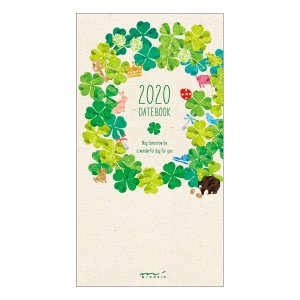 【20%OFF】《月間》MIDORI (ミドリ) 2020年 手帳 ポケットダイアリー<スリム> クローバー柄 27793006|erfolg