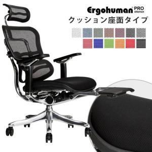 エルゴヒューマン プロ オットマン内蔵型 クッション 座面タイプ 座カラー:ブラックのみ限定 送料無料 開梱 搬入 設置無料 高機能 オフィスチェア|ergohuman