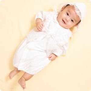 セレモニードレス 2way (ドレス・フード 2点セット) 日本製 お宮参り  男の子 女の子  新生児 赤ちゃん オールシーズン 50cm〜60cm  送料無料|erikaland-store|03
