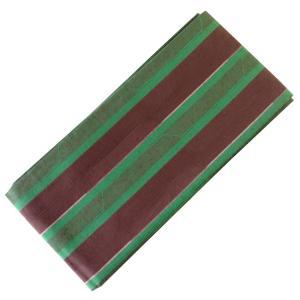 木綿帯 半幅帯 細帯 おしゃれ帯 No.502 緑 茶色 縞|eriko