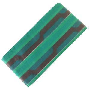 木綿帯 半幅帯 細帯 おしゃれ帯 No.503 緑 青緑 茶色 縞|eriko
