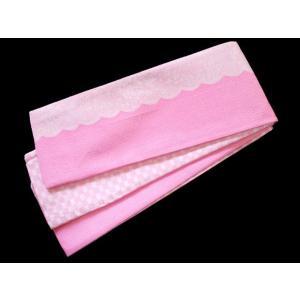 半幅帯 細帯 おしゃれ帯 四寸帯 No.7506 ピンク 白 バラ レース調 格子 訳あり処分品 |eriko