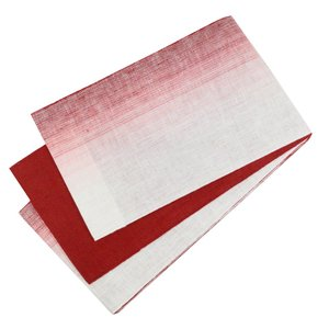 麻帯 半幅帯 No.228 細帯 小袋帯 白 赤 グラデーション 日本製|eriko