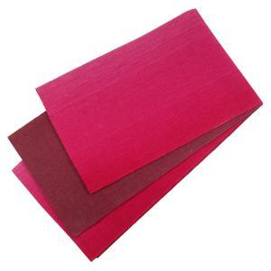 麻帯 半幅帯 No.227 細帯 小袋帯 バラ色 赤紅色 グラデーション 日本製|eriko