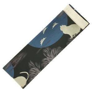 半幅帯 細帯 おしゃれ帯 No.7020 黒 青 ベージ 猫 満月 飛びうさぎ|eriko