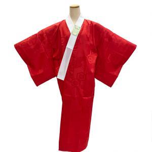 洗える 長襦袢 赤 緋色 S〜TLサイズ 地紋入り 半衿付き 無双袖 日本製 仕立て上がり|eriko