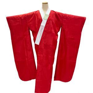 振袖用 洗える 長襦袢 赤 緋色 S〜Lサイズ 地紋入り 半衿付き 無双袖 日本製 仕立て上がり|eriko