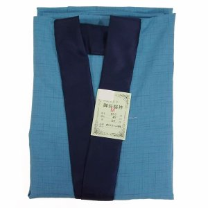 男物 仕立て上がり洗える長襦袢 1101 Mサイズ 半衿付き 青 |eriko