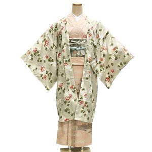 RYOKO KIKUCHI 長羽織 No.101 ベージュ 亜麻色 花柄 和装コート R・K キクチ...