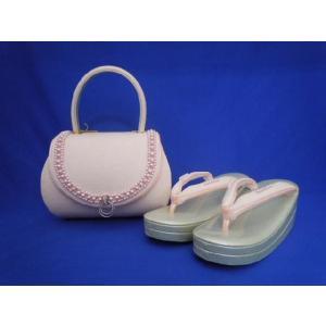 草履バッグセット No.1002 22.5cm ピンク パールビーズ付き|eriko