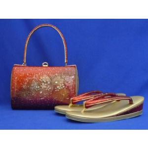 草履バッグセット No.1114 赤 金 桜柄 23cm Mサイズ 在庫処分品|eriko