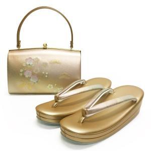 草履バッグセット No.1401 女性 LLサイズ 2Lサイズ 金 ピンクゴールド 桜柄 梅柄 レディース 草履バック 和装 振袖 成人式 結婚式  訳あり商品|eriko
