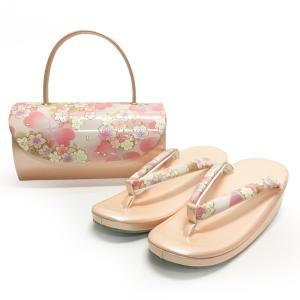 草履バッグセット No.1402 女性 LLサイズ 2Lサイズ ピンク 桜柄 レディース 草履バック 和装 振袖 成人式 結婚式  訳あり商品|eriko