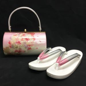 草履バッグセット No.1403 女性 LLサイズ 2Lサイズ ピンク 白 桜柄 レディース 草履バック 和装 振袖 成人式 結婚式  訳あり商品|eriko