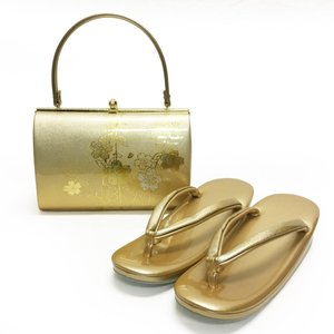 草履バッグセット No.1406 女性 LLLサイズ 3Lサイズ ゴールド 金 枝垂桜柄 レディース 草履バック 和装 振袖 成人式 結婚式  訳あり商品|eriko
