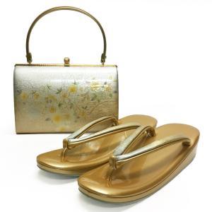 草履バッグセット No.1408 女性 LLLサイズ 3Lサイズ ゴールド 金 桜柄 レディース 草履バック 和装 振袖 成人式 結婚式  訳あり商品|eriko