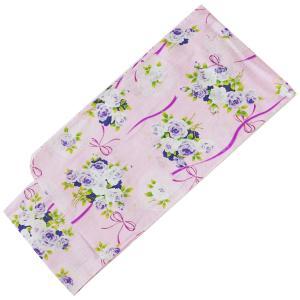 浴衣 女の子 子供 140cm No.2524 ピンク 紫 バラ柄 在庫処分品|eriko