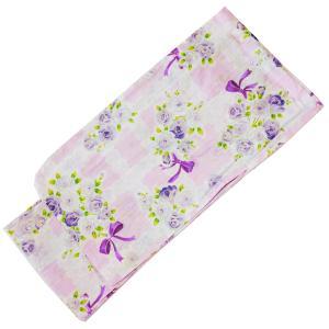 女の子 子供浴衣 150cm No.2630 ピンク 紫 バラ柄|eriko