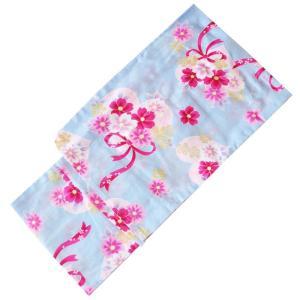 女の子 子供浴衣 150cm No.2605 水色 花柄 ハート リボン 腰上げ済み 腰紐付き|eriko