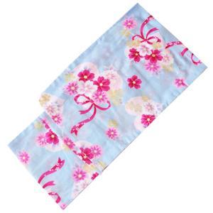 浴衣 子供 No.2702 水色 花柄 ハート リボン 腰上げ済み 腰紐付き 女の子 こども 160cm |eriko