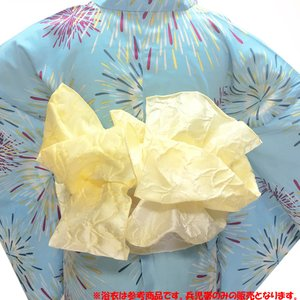【A0】 兵児帯 女性 No.57 たまご色 淡黄色 花柄 浴衣帯 大人 レディース 在庫処分品|eriko