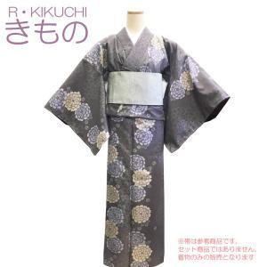 RYOKO KIKUCHI 着物 袷 小紋 No.72 鳩羽鼠色 ダリア菊柄 洗える着物 仕立て上が...