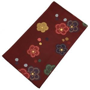 袋帯  中古 No.4004 深紅 葡萄色 梅柄 仕立て上がり 芯入り 成人式 卒業式 ウエディング ブライダル 結婚式 婚礼 仲人 USED リサイクル|eriko