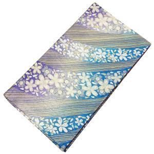袋帯  中古 No.4008 紫 青 金 桜柄 仕立て上がり 芯なし 成人式 卒業式 ウエディング ブライダル 結婚式 婚礼 仲人 USED リサイクル|eriko