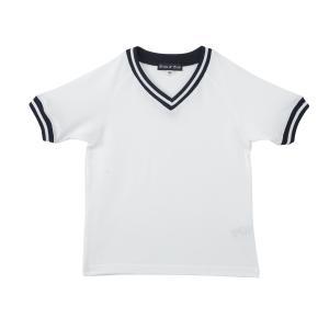 体操服[トップス] 白×紺白ボーダーフライス お受験 体操着 100110120130 ernie-essie